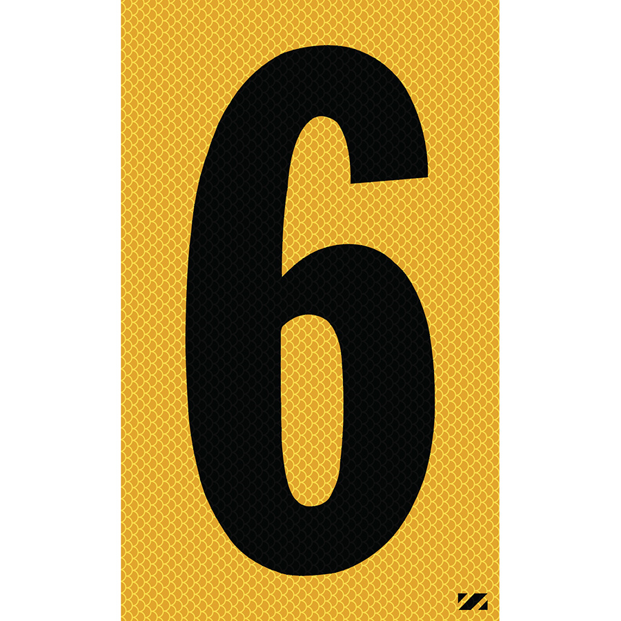 "2.5"" Black on Yellow High Intensity Reflective ""6"""