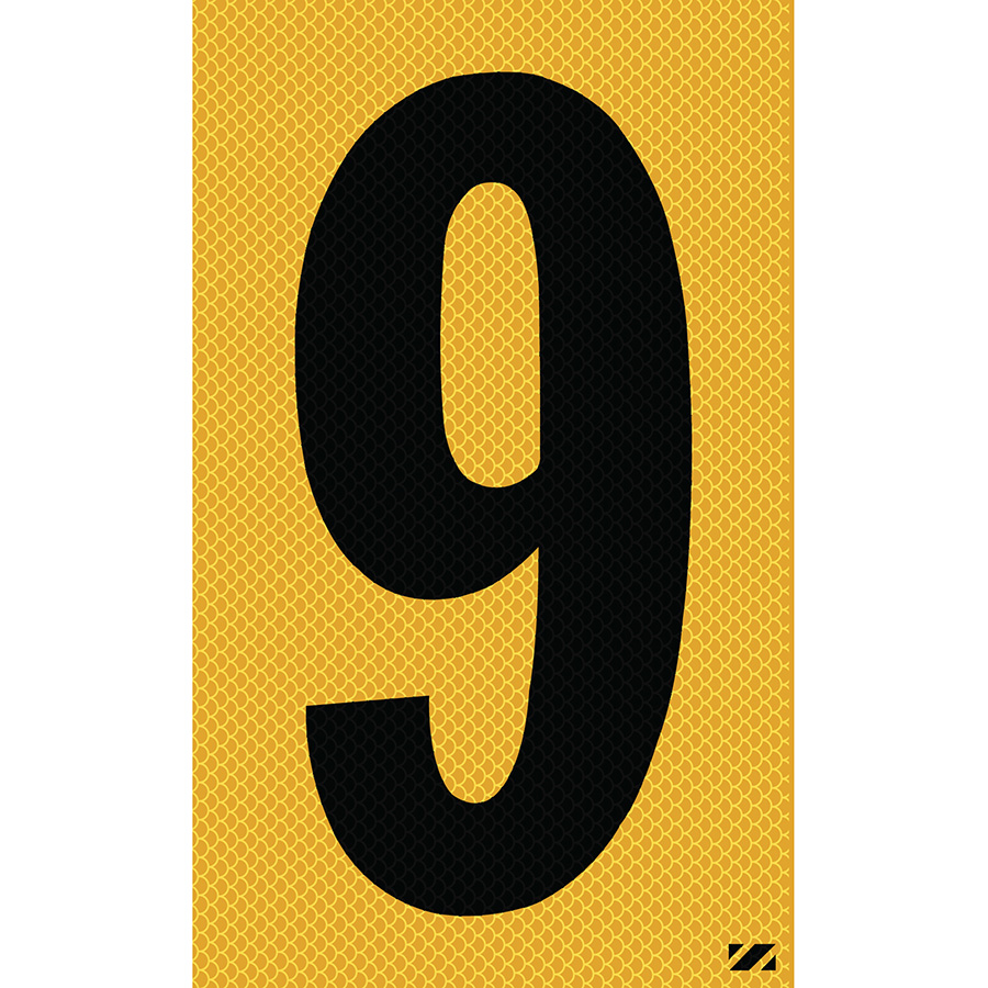 "2.5"" Black on Yellow High Intensity Reflective ""9"""