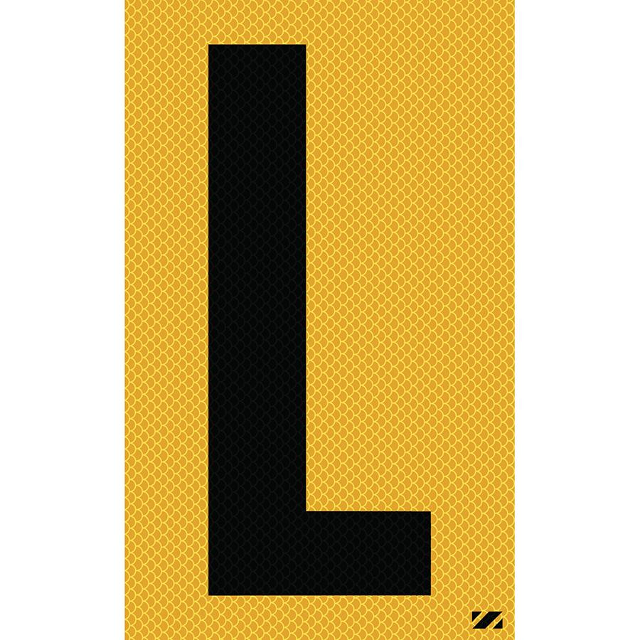 "2.5"" Black on Yellow High Intensity Reflective ""L"""