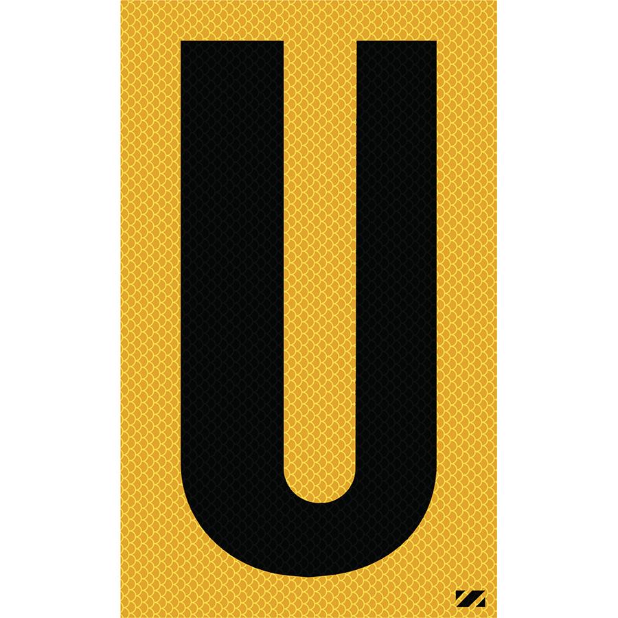 "2.5"" Black on Yellow High Intensity Reflective ""U"""
