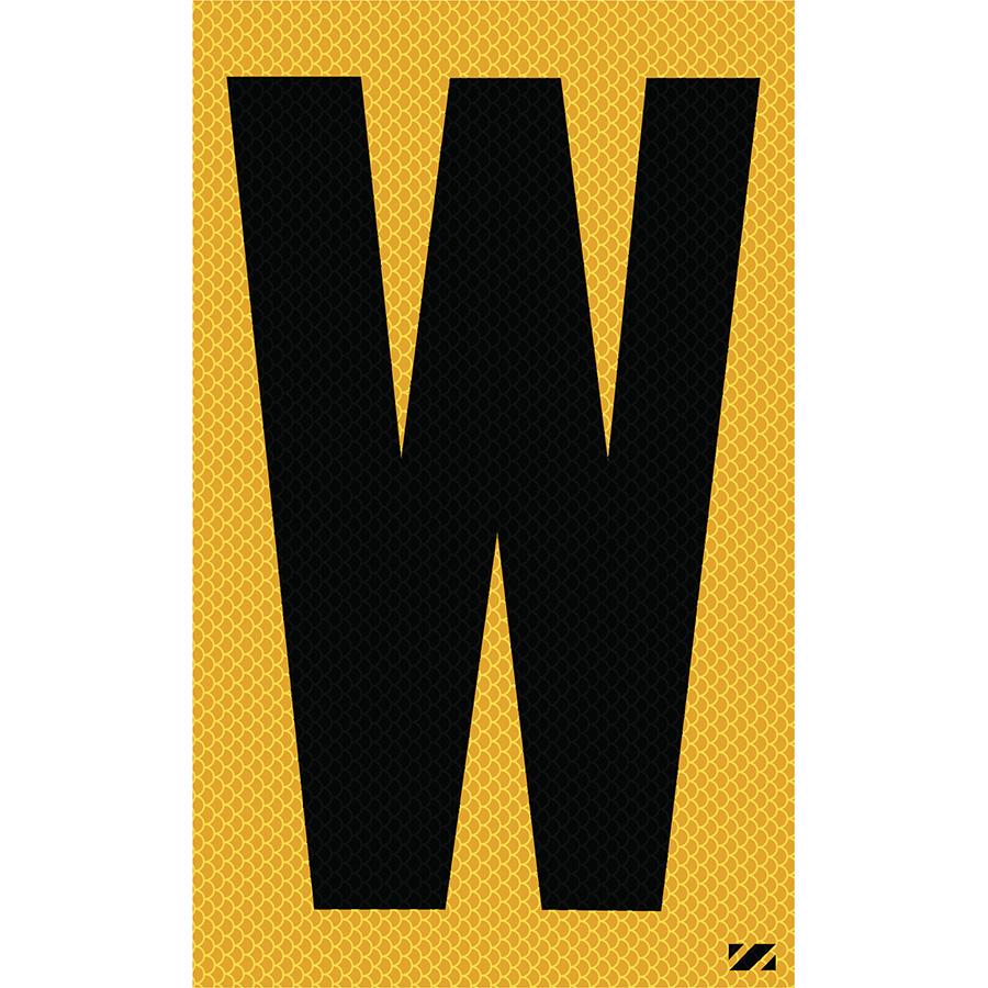 "2.5"" Black on Yellow High Intensity Reflective ""W"""