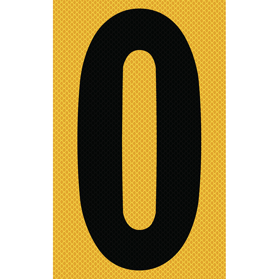 "3"" Black on Yellow High Intensity Reflective ""0"""
