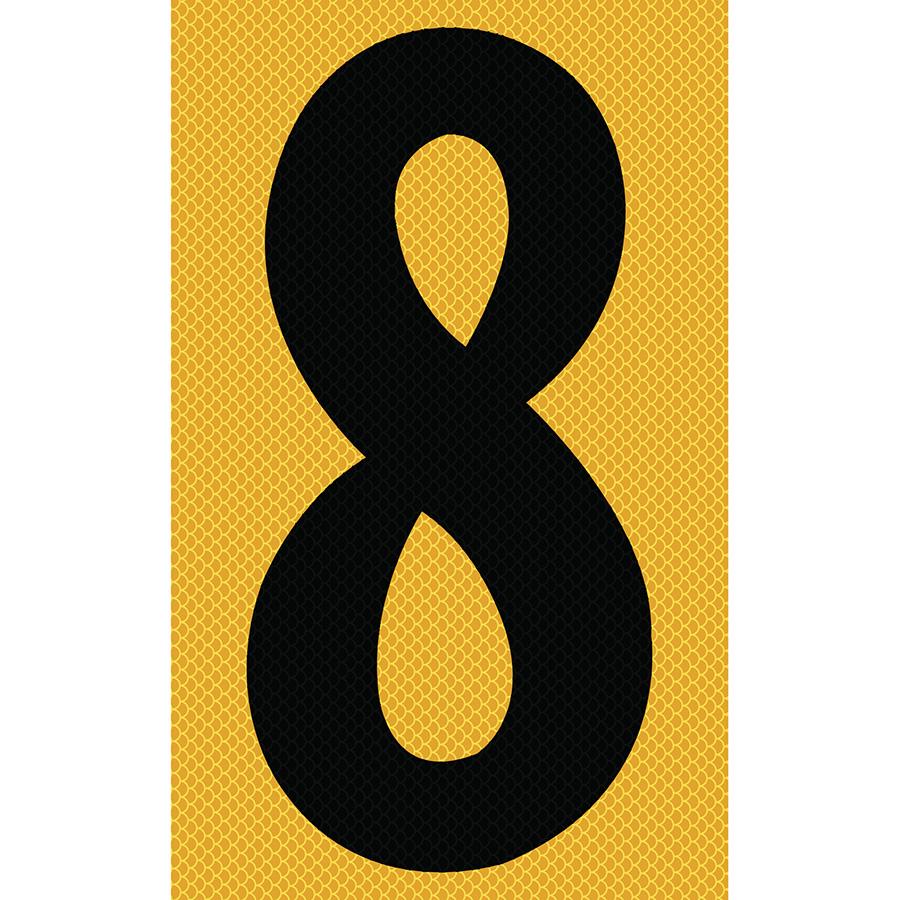 "3"" Black on Yellow High Intensity Reflective ""8"""