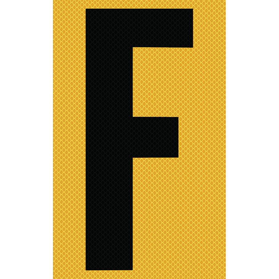 "3"" Black on Yellow High Intensity Reflective ""F"""