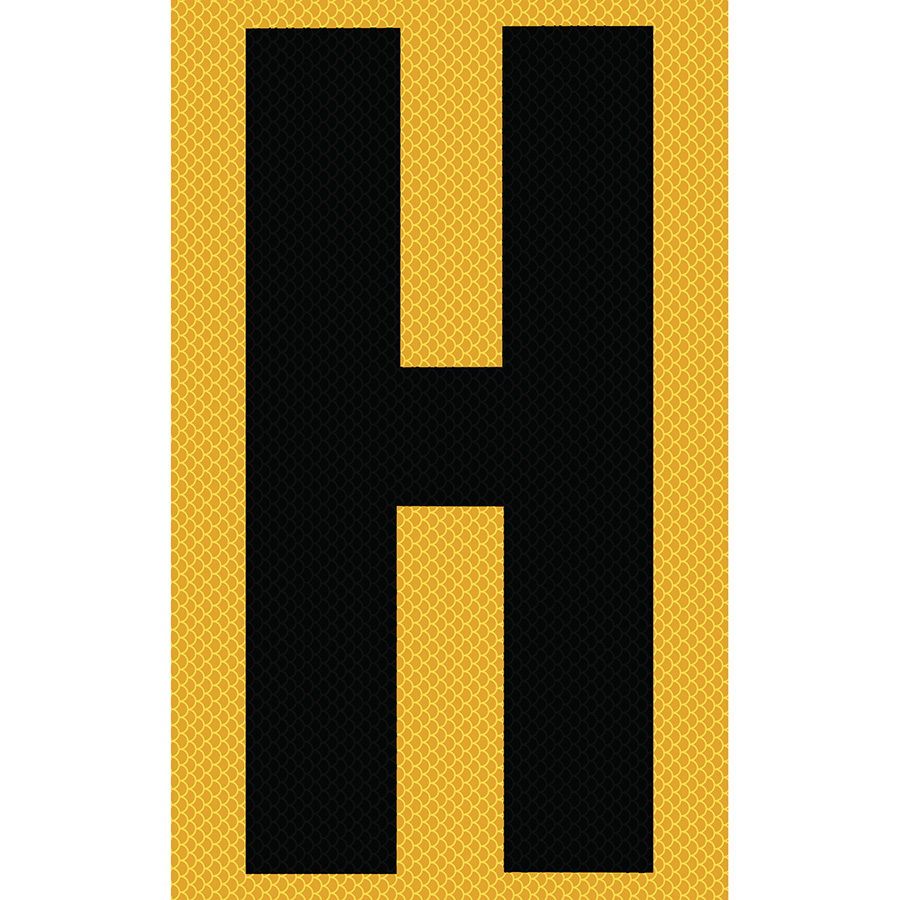 "3"" Black on Yellow High Intensity Reflective ""H"""