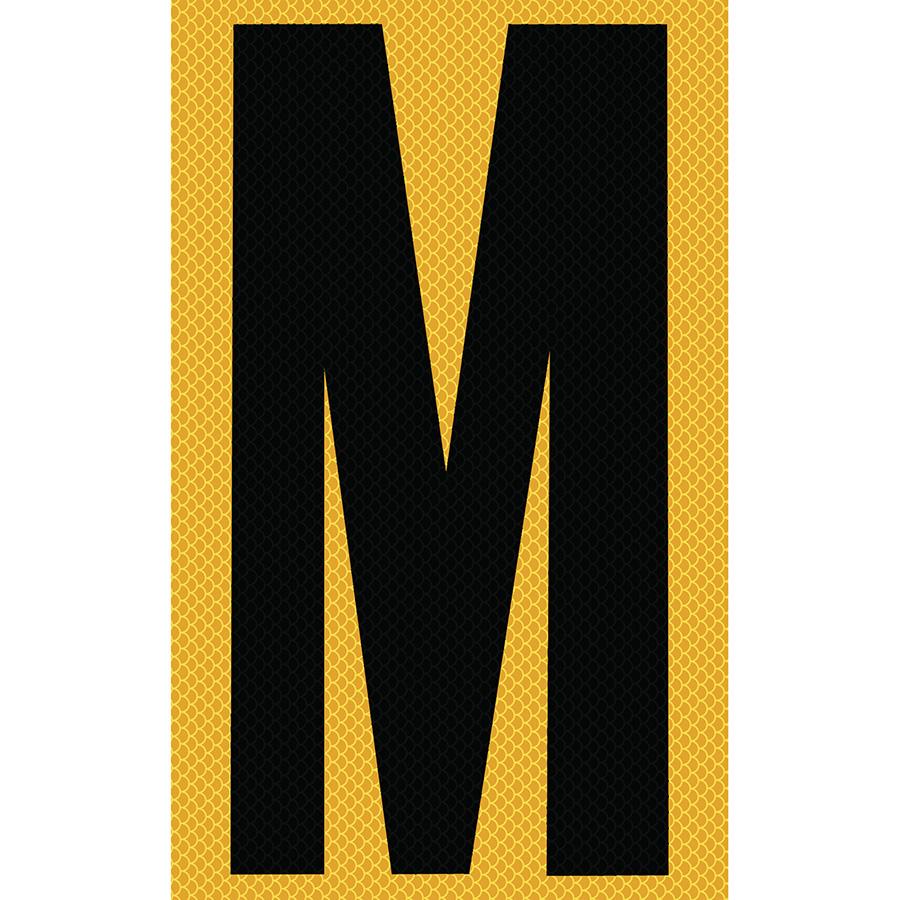 "3"" Black on Yellow High Intensity Reflective ""M"""