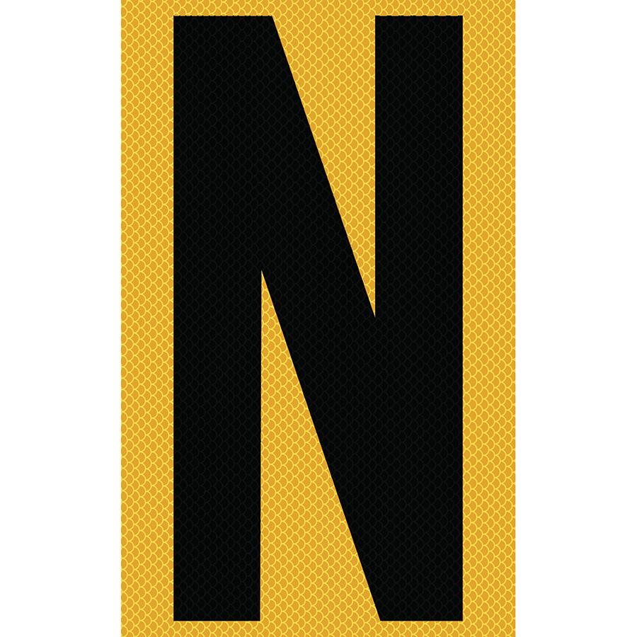 "3"" Black on Yellow High Intensity Reflective ""N"""