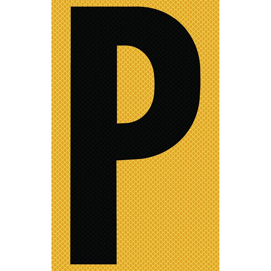 "3"" Black on Yellow High Intensity Reflective ""P"""