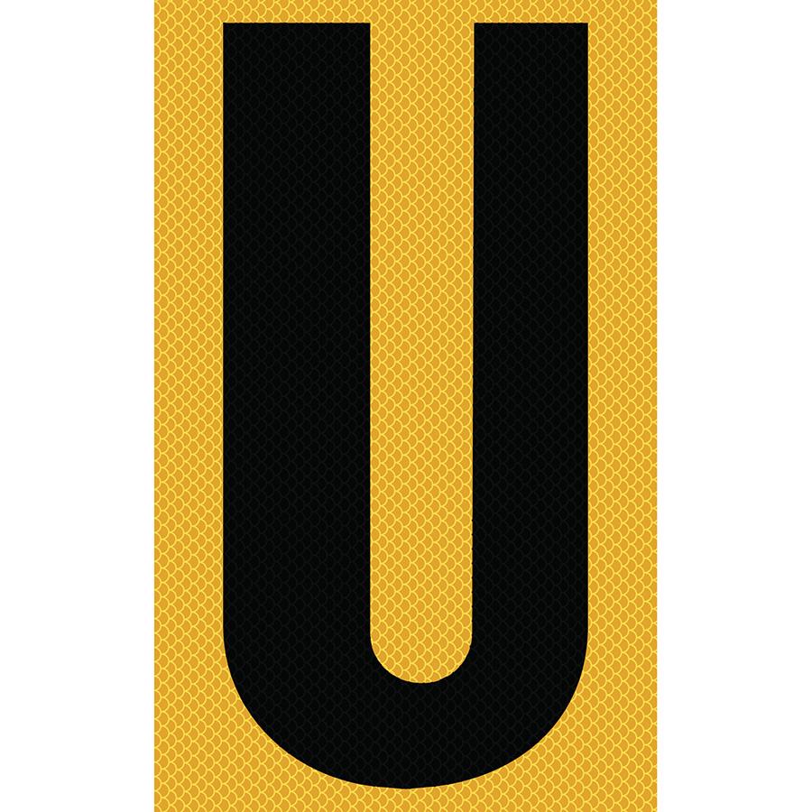 "3"" Black on Yellow High Intensity Reflective ""U"""