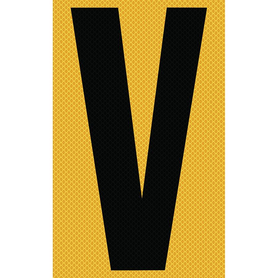 "3"" Black on Yellow High Intensity Reflective ""V"""