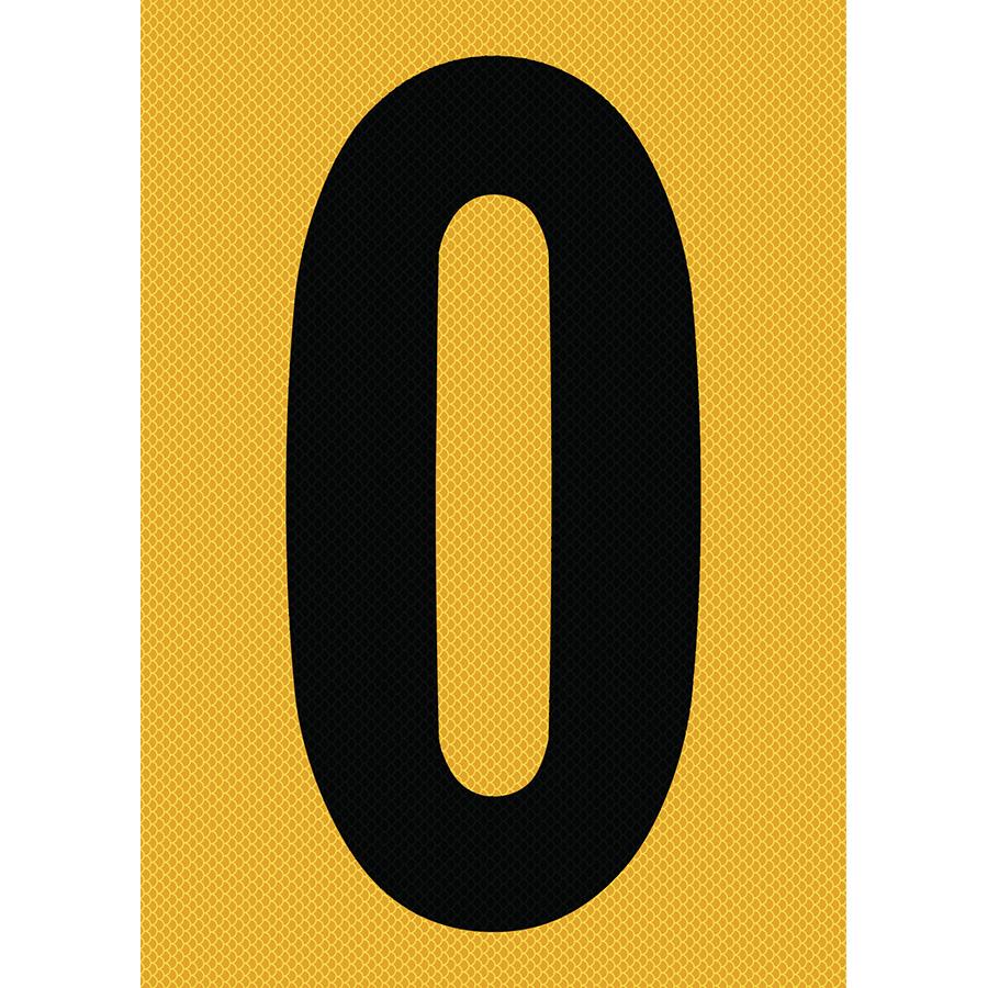 "6"" Black on Yellow High Intensity Reflective ""0"""