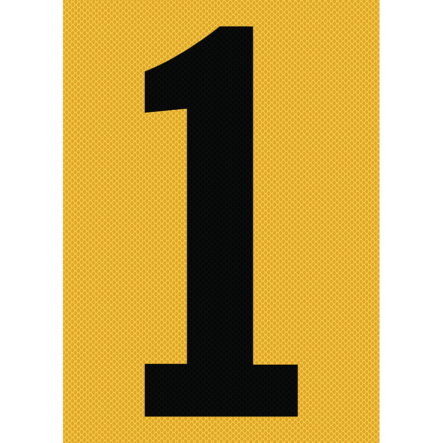 "6"" Black on Yellow High Intensity Reflective ""1"""
