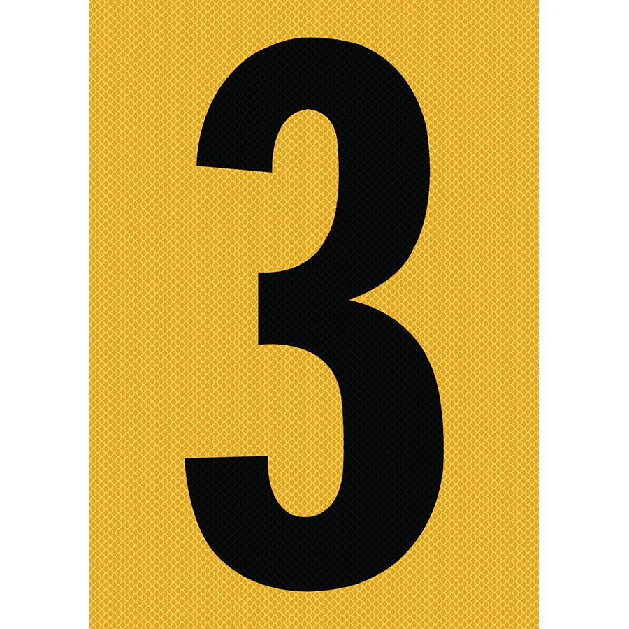 "6"" Black on Yellow High Intensity Reflective ""3"""