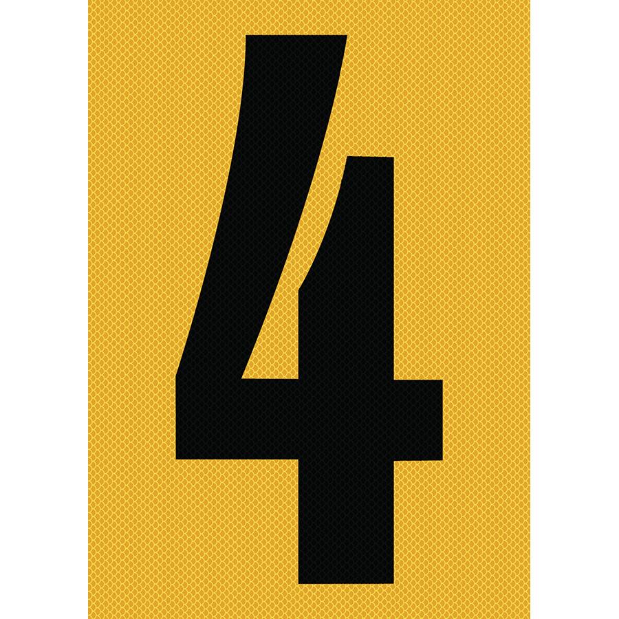 "6"" Black on Yellow High Intensity Reflective ""4"""