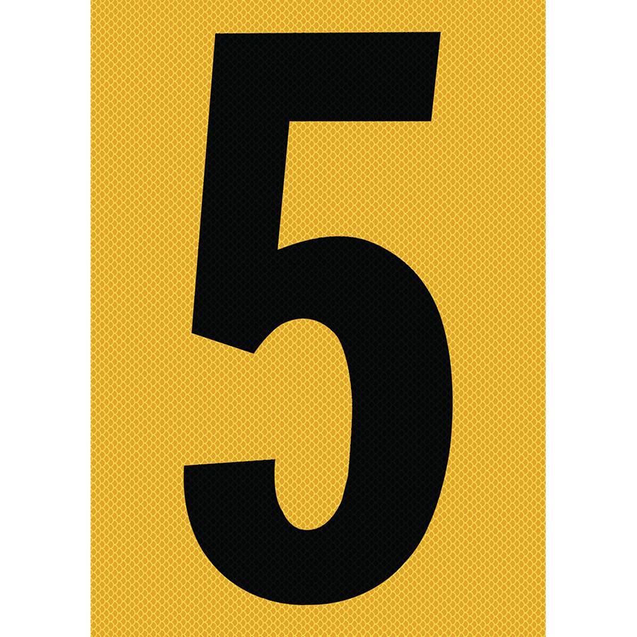 "6"" Black on Yellow High Intensity Reflective ""5"""