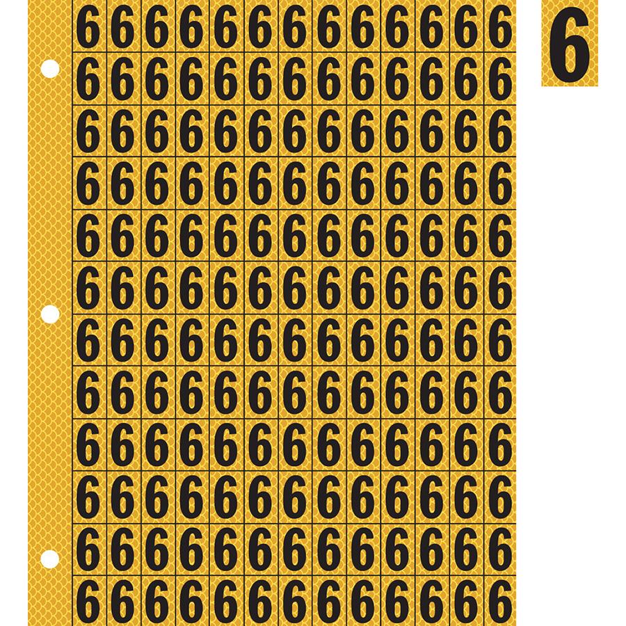 "0.78"" Black on Yellow High Intensity Reflective ""6"""