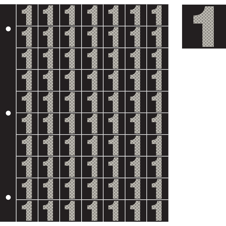 "1"" Silver on Black High Intensity Reflective ""1"""