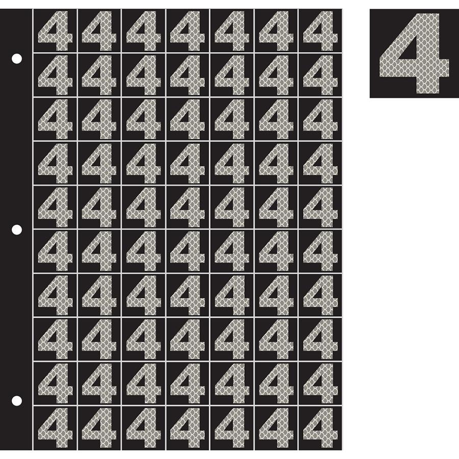 "1"" Silver on Black High Intensity Reflective ""4"""