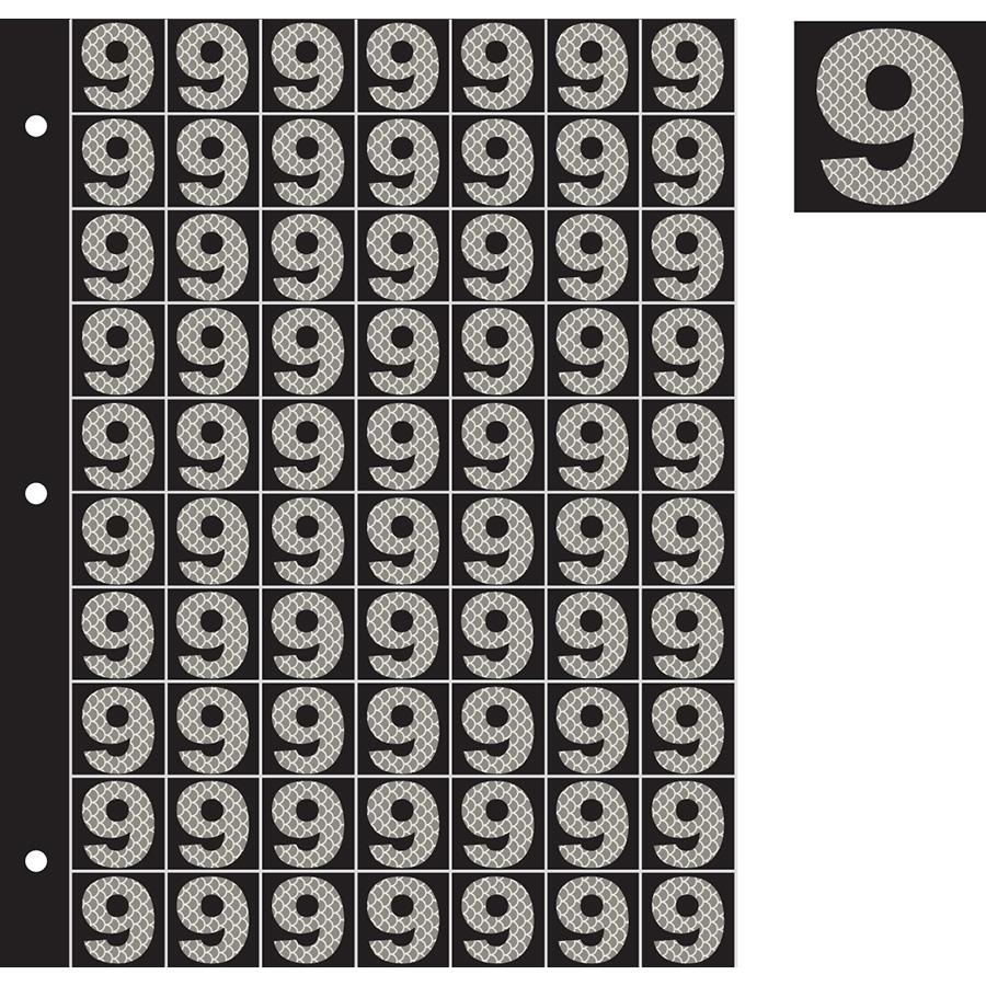 "1"" Silver on Black High Intensity Reflective ""9"""