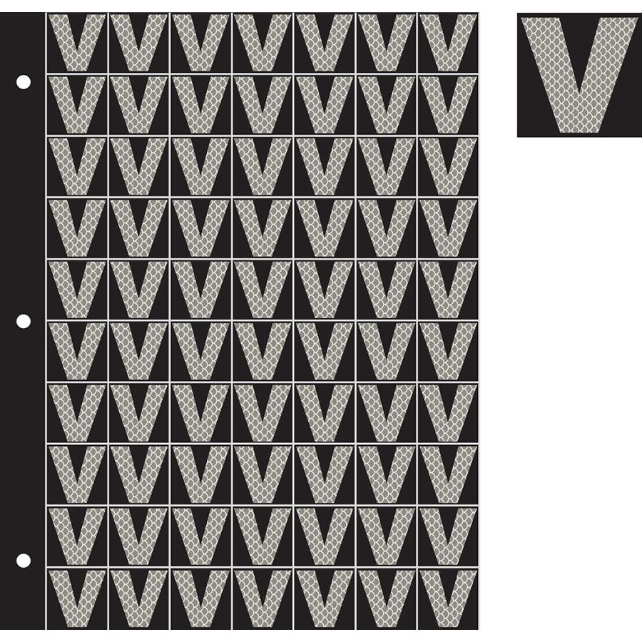 "1"" Silver on Black High Intensity Reflective ""V"""