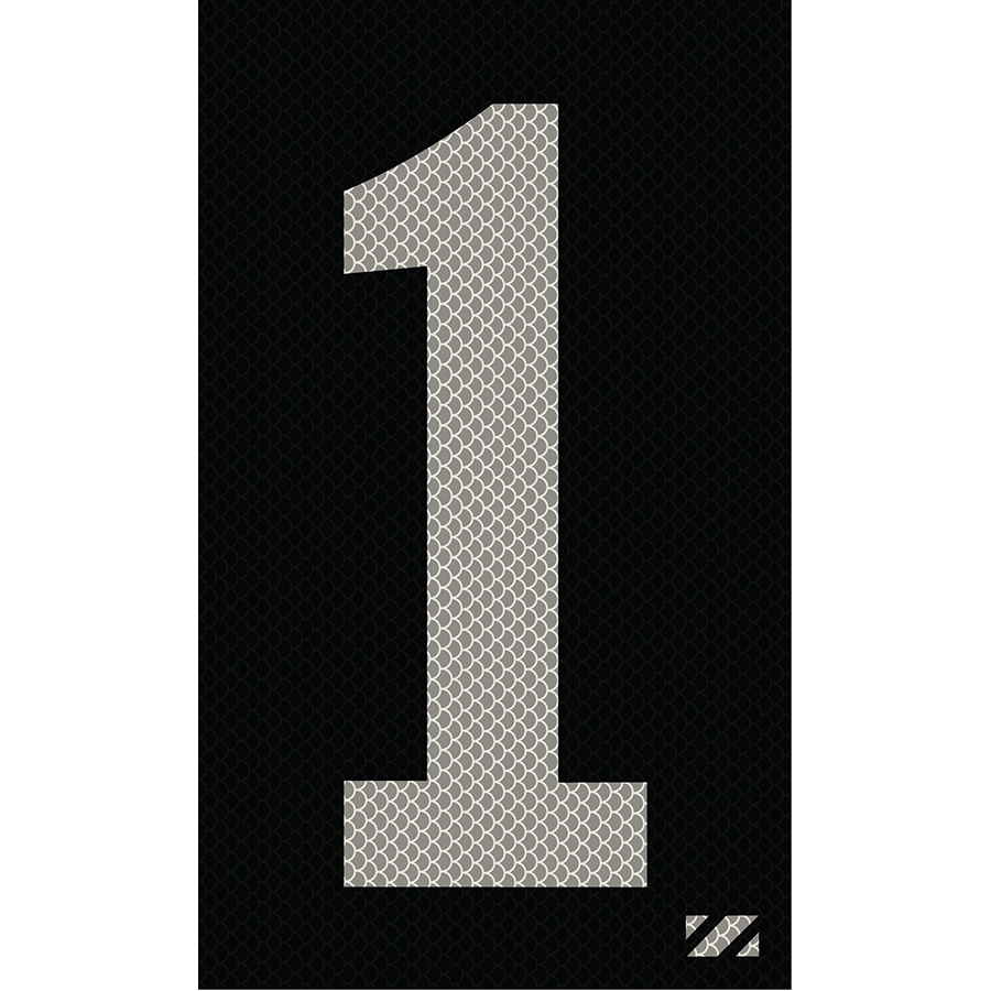 "2"" Silver on Black High Intensity Reflective ""1"""