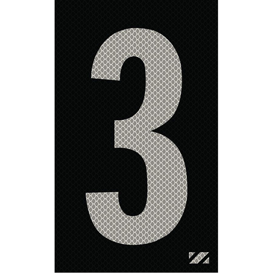 "2"" Silver on Black High Intensity Reflective ""3"""