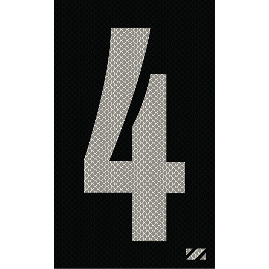 "2"" Silver on Black High Intensity Reflective ""4"""