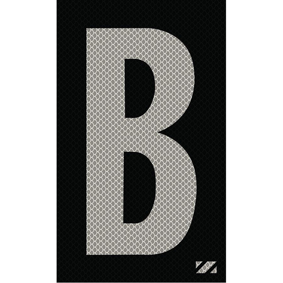 "2"" Silver on Black High Intensity Reflective ""B"""