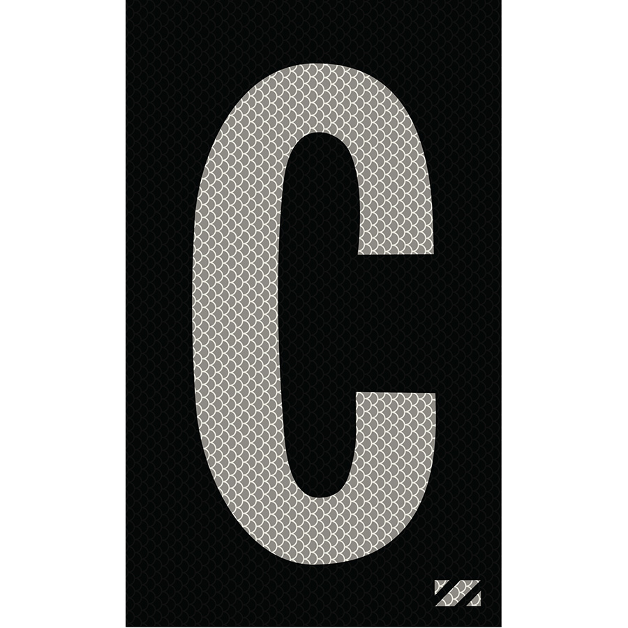 "2"" Silver on Black High Intensity Reflective ""C"""
