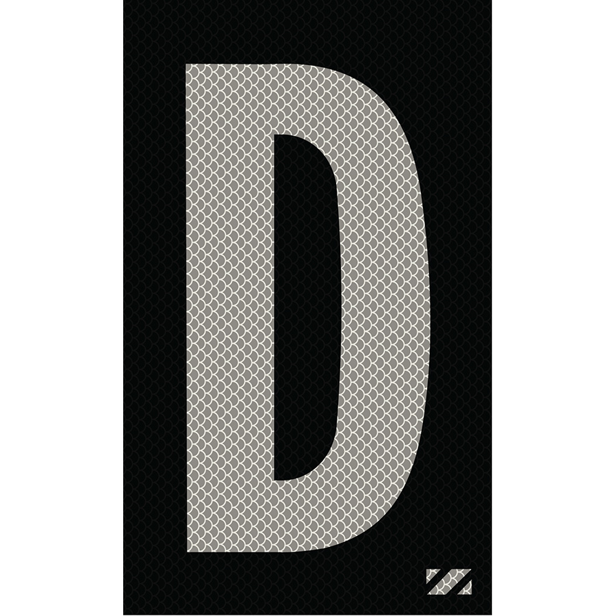 "2"" Silver on Black High Intensity Reflective ""D"""