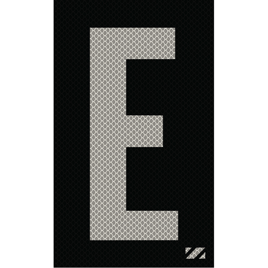 "2"" Silver on Black High Intensity Reflective ""E"""