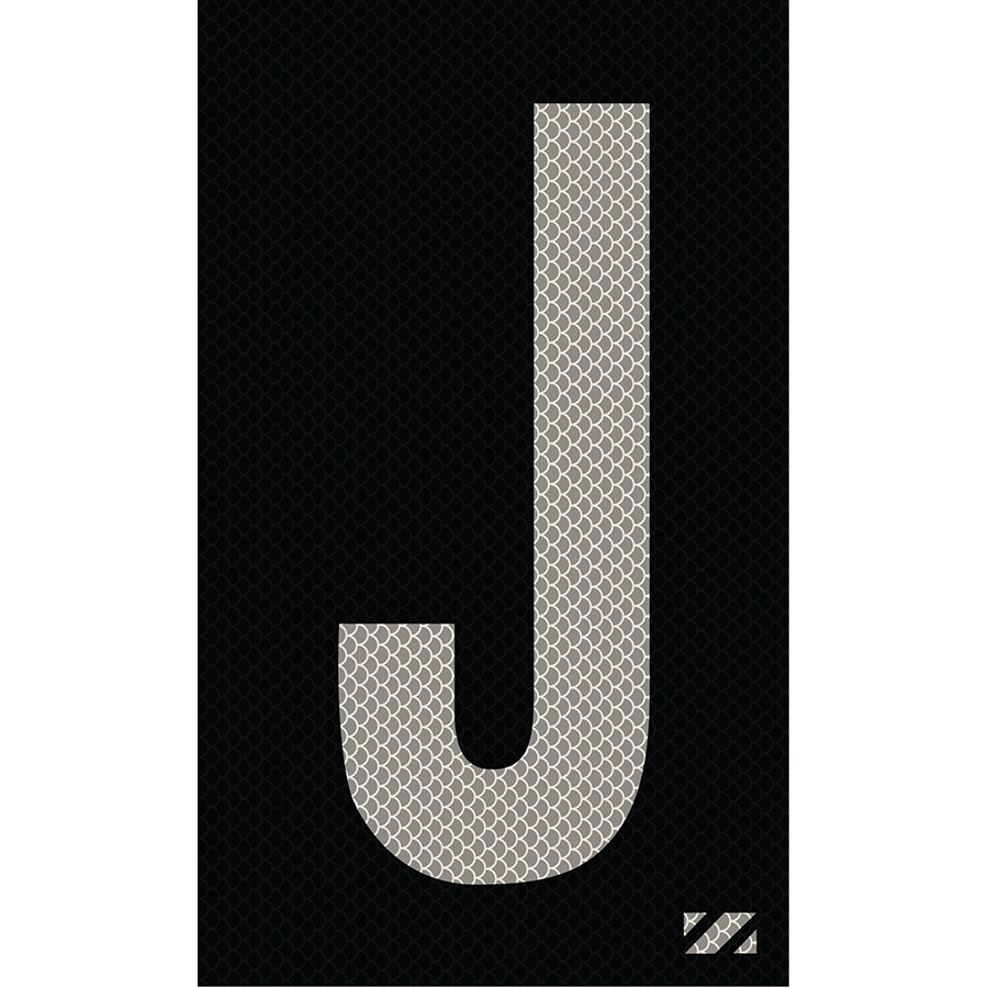 "2"" Silver on Black High Intensity Reflective ""J"""