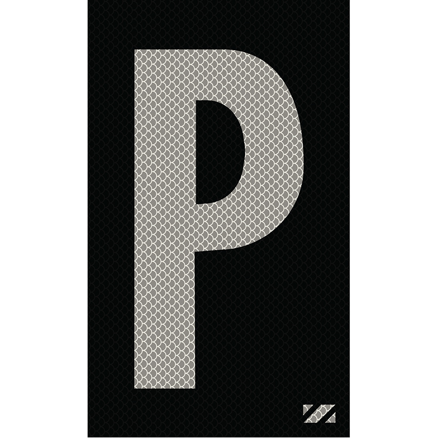 "2"" Silver on Black High Intensity Reflective ""P"""