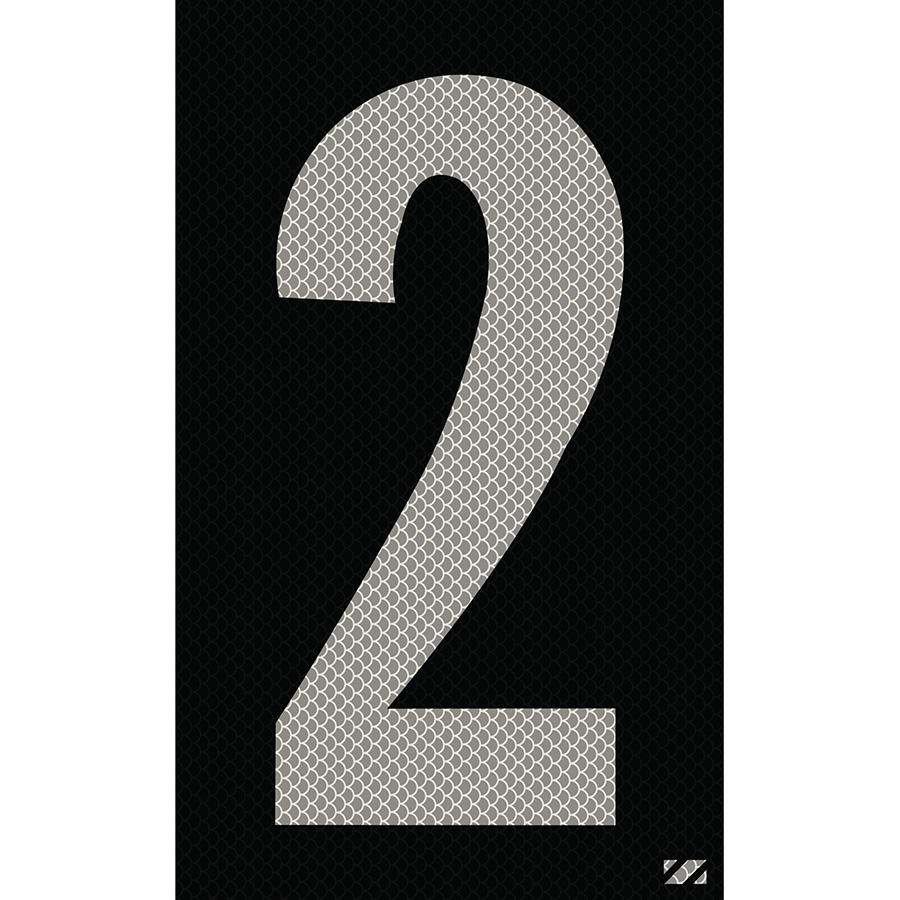 "2.5"" Silver on Black High Intensity Reflective ""2"""