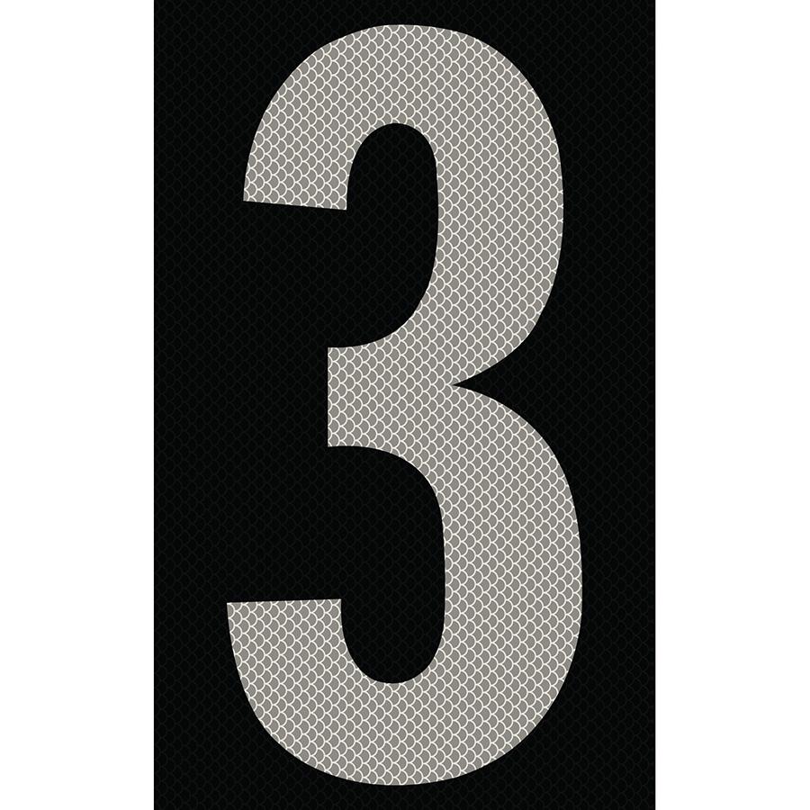 "3"" Silver on Black High Intensity Reflective ""3"""