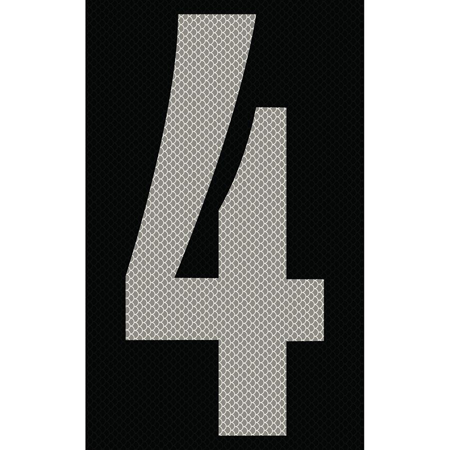 "3"" Silver on Black High Intensity Reflective ""4"""