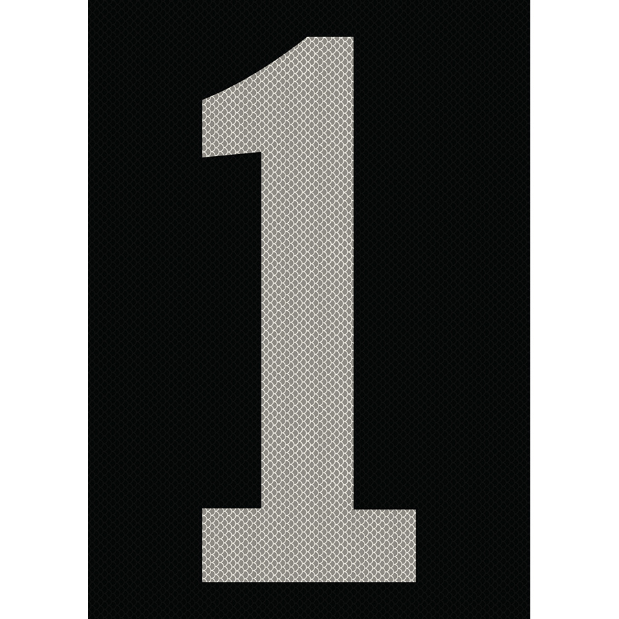 "6"" Silver on Black High Intensity Reflective ""1"""