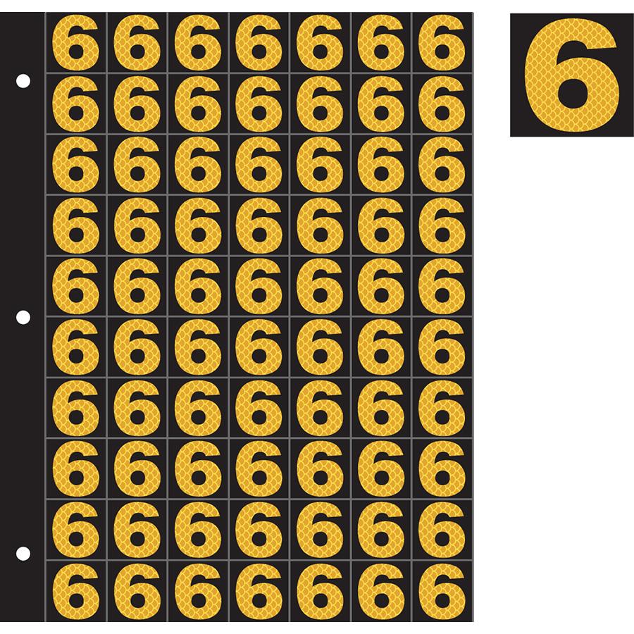 "1"" Yellow on Black High Intensity Reflective ""6"""