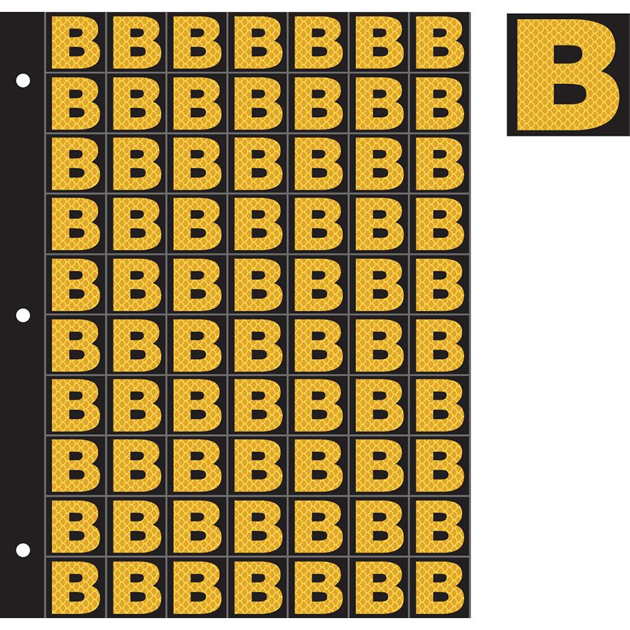 "1"" Yellow on Black High Intensity Reflective ""B"""
