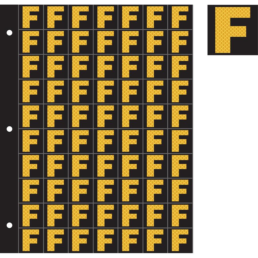 "1"" Yellow on Black High Intensity Reflective ""F"""