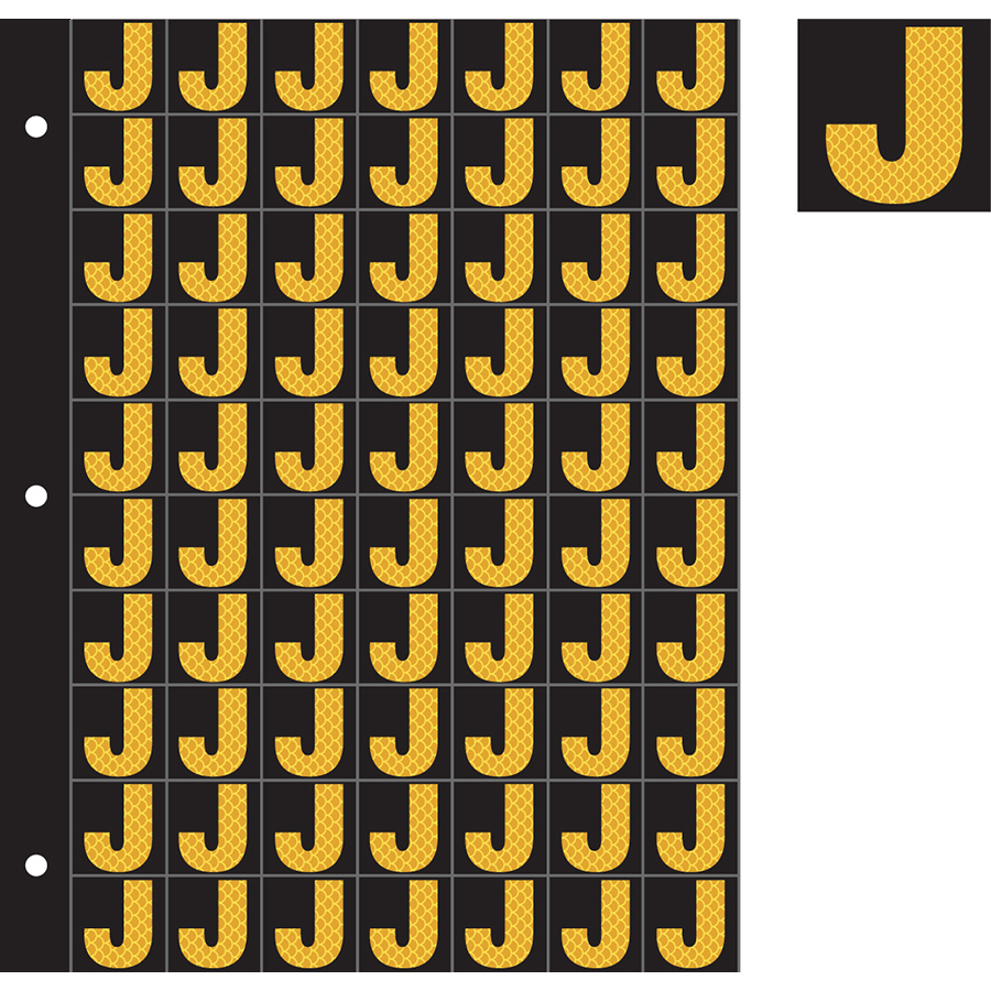 "1"" Yellow on Black High Intensity Reflective ""J"""