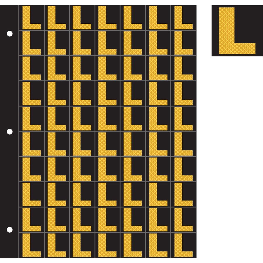 "1"" Yellow on Black High Intensity Reflective ""L"""