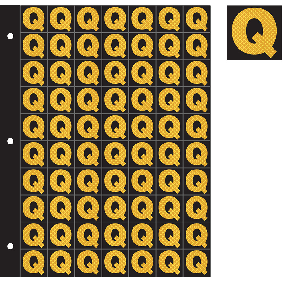 "1"" Yellow on Black High Intensity Reflective ""Q"""