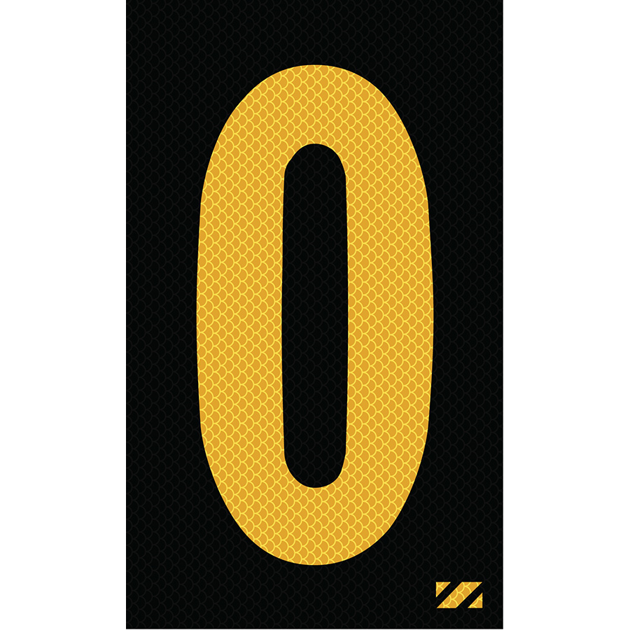 "2"" Yellow on Black High Intensity Reflective ""0"""
