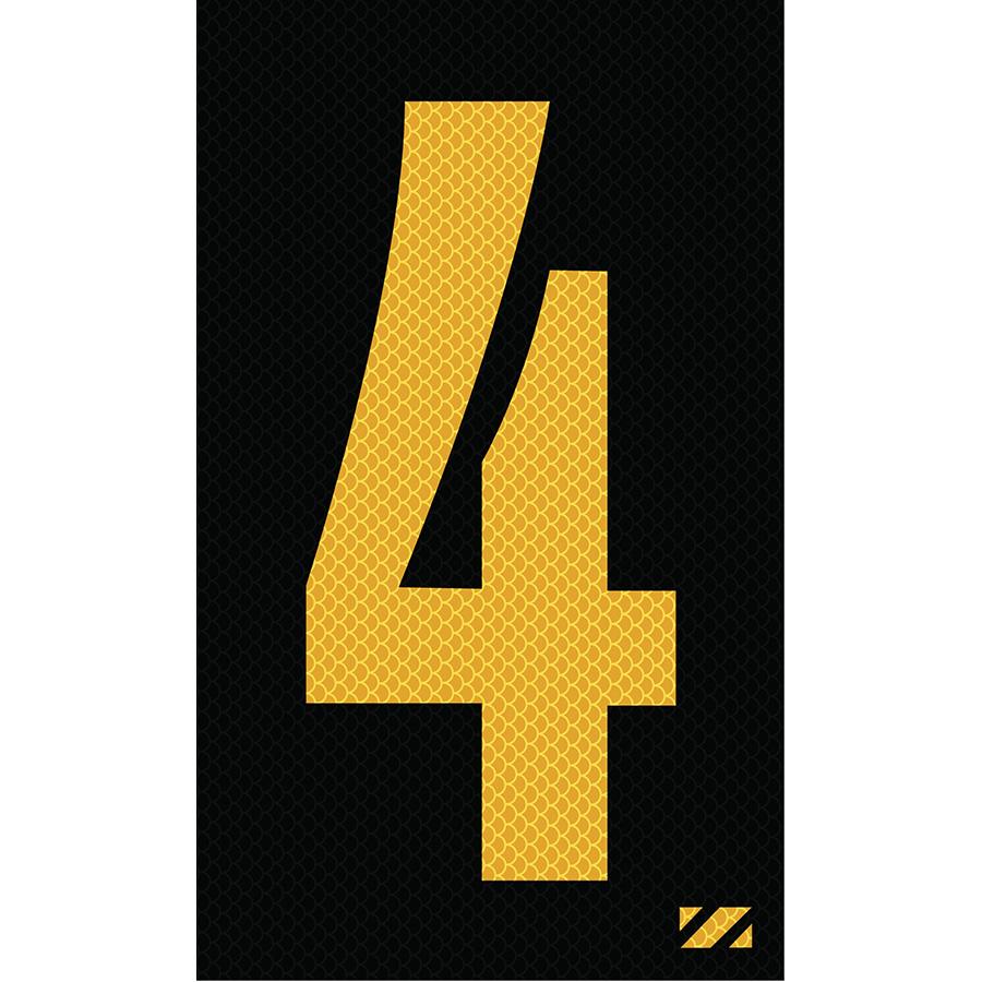 "2"" Yellow on Black High Intensity Reflective ""4"""