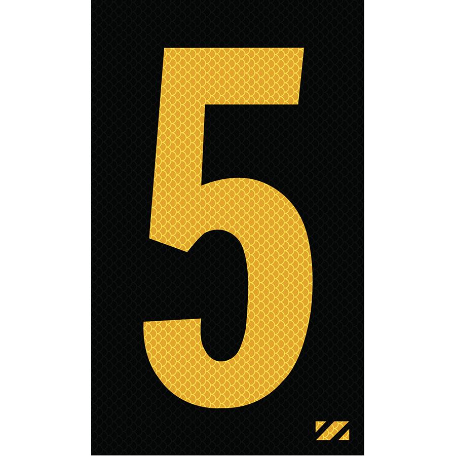 "2"" Yellow on Black High Intensity Reflective ""5"""