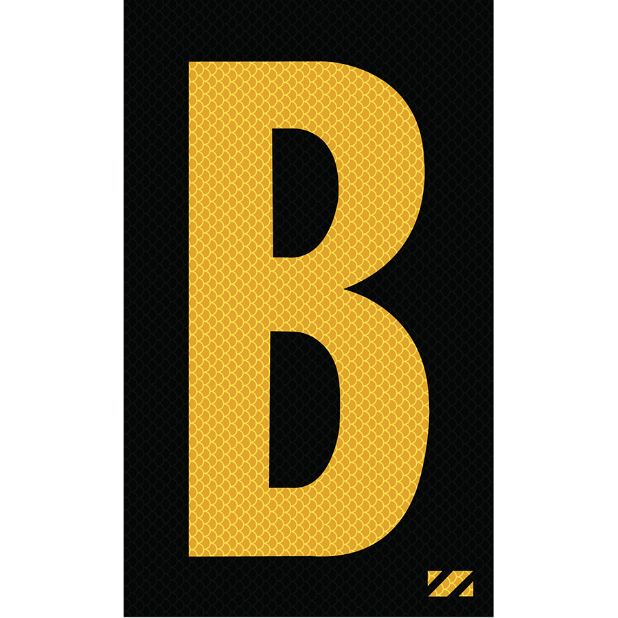 "2"" Yellow on Black High Intensity Reflective ""B"""