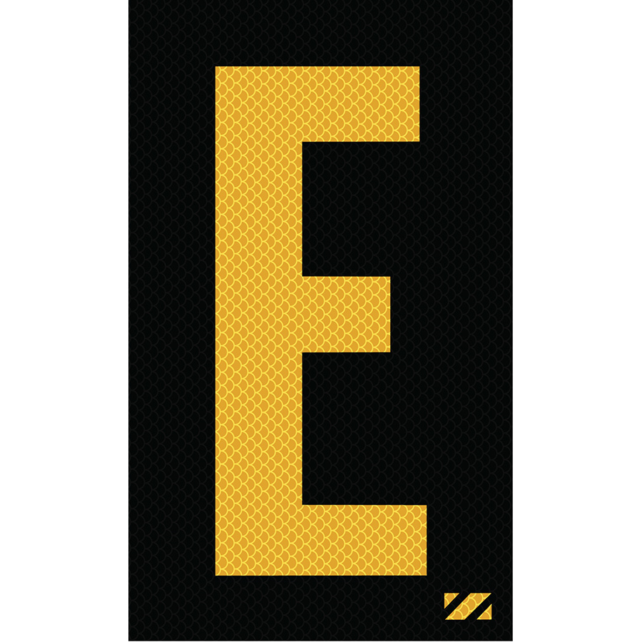 "2"" Yellow on Black High Intensity Reflective ""E"""