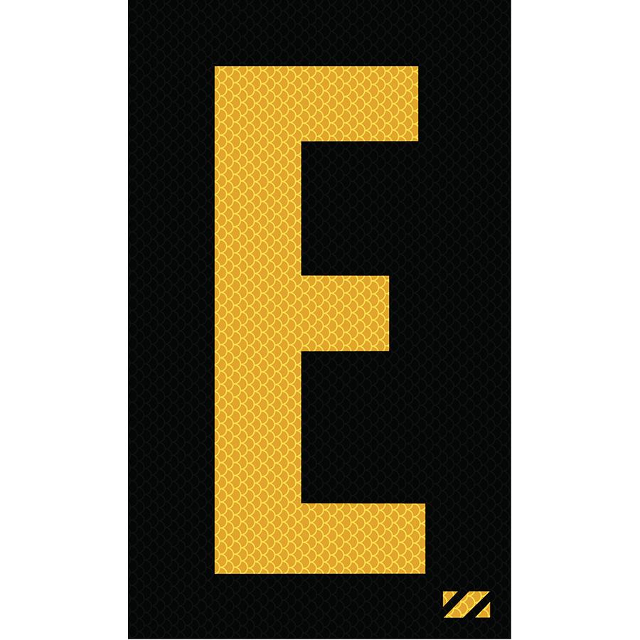 "2"" Yellow on Black High Intensity Reflective ""E"""