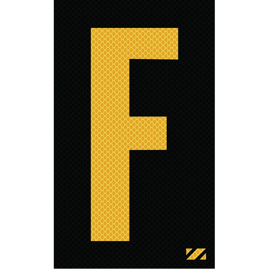 "2"" Yellow on Black High Intensity Reflective ""F"""